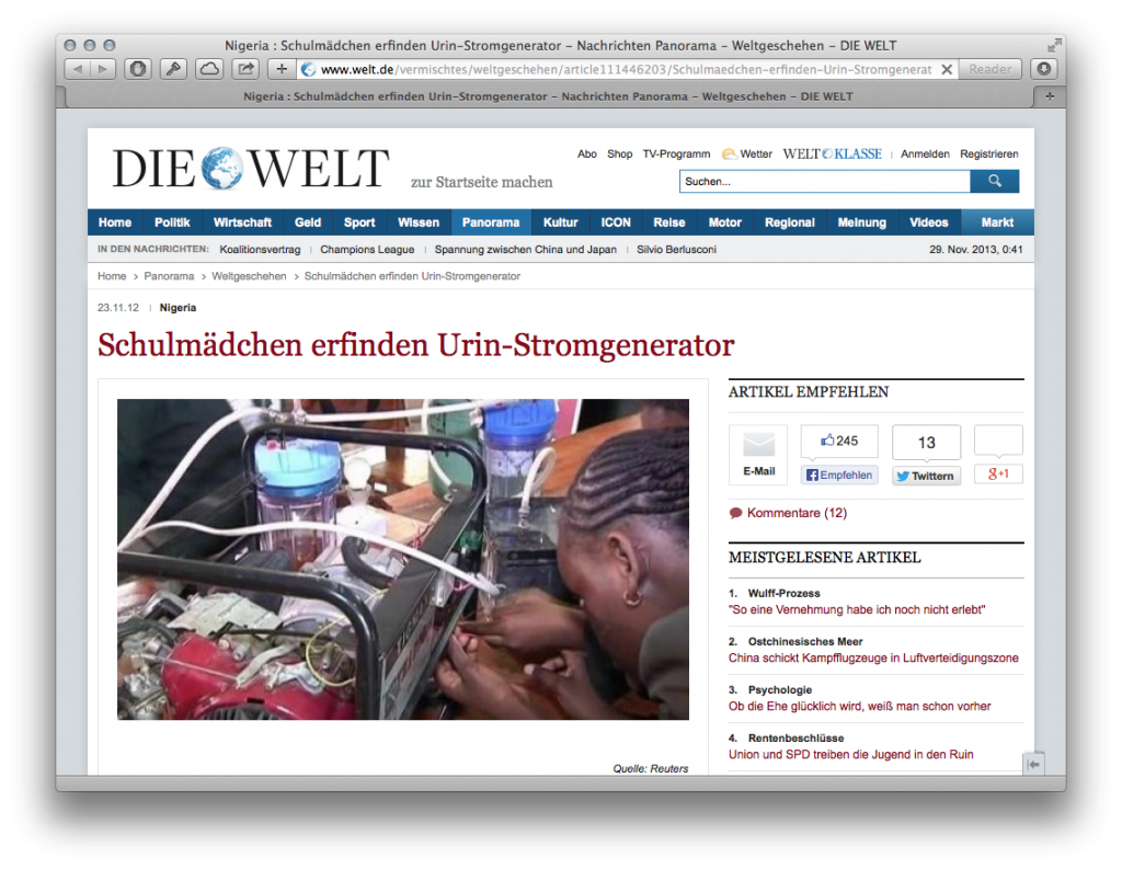 Welt Urin-Generator