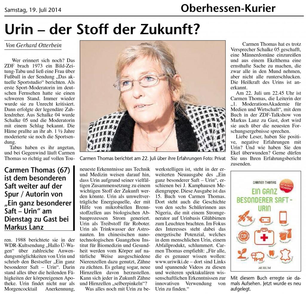 Urin - der Stoff der Zukunft, Carmen Thomas im Oberhessen-Kurier